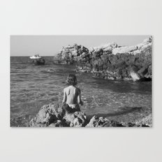 on the rocks by the sea Canvas Print