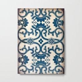 Blue Oriental Vintage Tile 02 Metal Print