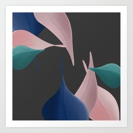 Gentle Leaves In Pinks, Blue, and Teal With Dark Gray Background Art Print
