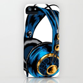 Blue and Gold Headphones iPhone Case