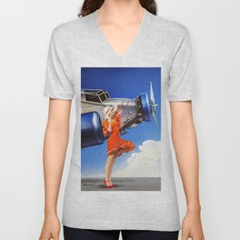 (Art Deco) Skirt with wings Unisex V-Neck