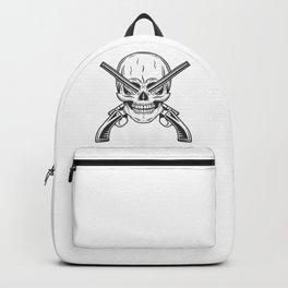 Vintage monochrome bandit gangster skull with crossed hunting sawn-off shotgun modern print Backpack