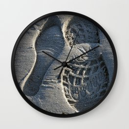 Foot prints in sand Wall Clock