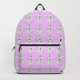 Meditating Unicorn Pattern Rose Backpack