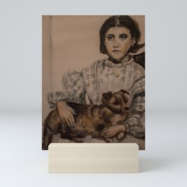 watercolor portrait of victorian girl with dog Mini Art Print