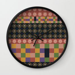 flowers and squares ethnic patchwork Wall Clock