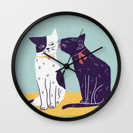 two cats licking Wall Clock