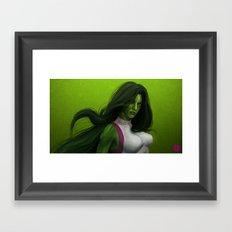 GREEN HAIR, GREEN EYES, HYPNOTIZE Framed Art Print