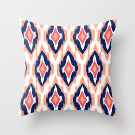 MODERN IKAT TRIBAL PATTERN   coral navy white Throw Pillow