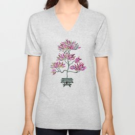 Bonsai Tree – Fuchsia Palette Unisex V-Neck