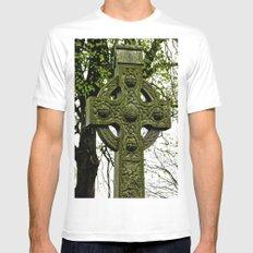 Celtic Cross at Monasterboice White Mens Fitted Tee MEDIUM