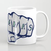 seahawks Mugs featuring Seaknucks - Seattle Seahawks fan art by Scott Erickson