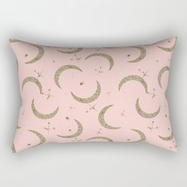 Gold Glitter Crescent Moon + Stars in Peach Rectangular Pillow