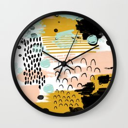 Ames - Abstract painting in free style with modern colors navy gold blush white mint Wall Clock