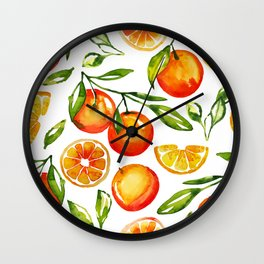 oranges watercolor tangerine fruit print Wall Clock