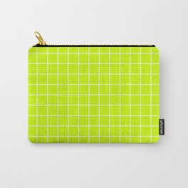 Volt - green color - White Lines Grid Pattern Carry-All Pouch