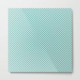 Pool Blue and White Polka Dots Metal Print