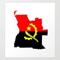 Angola flag map Art Print