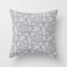 Silver gray lacey floral 2 Throw Pillow