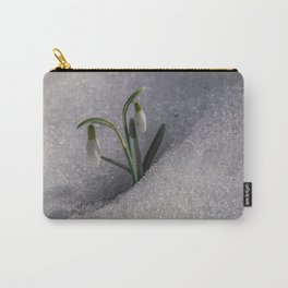 Snowdrop flowers in the snow Carry-All Pouch