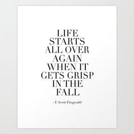 PRINTABLE WALL ART, F Scott Fitzgerald, Life Starts All Over Again, Motivational Poster,Office Decor Art Print