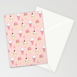 Ice Cream Pattern Pink Stationery Cards