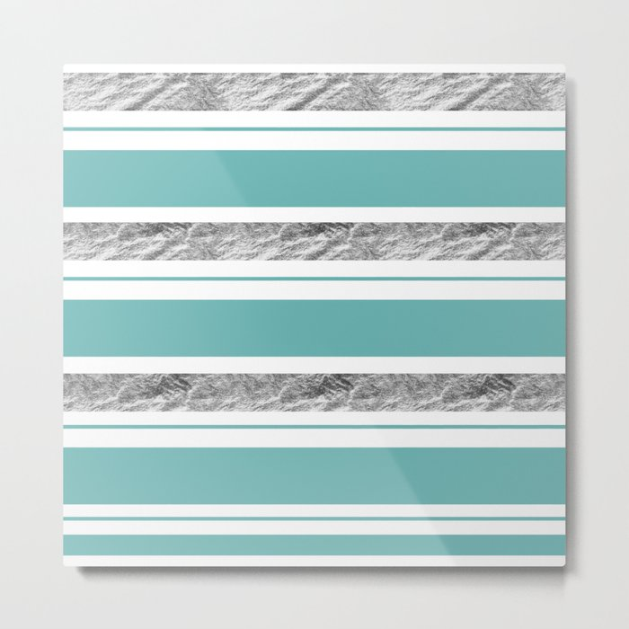 Aqua Blue Stripe with Silver Metal Print
