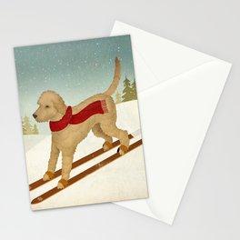 Doodle Schnoodle Whoodle Labradoodle Goldendoodle Ski Dog Stationery Cards