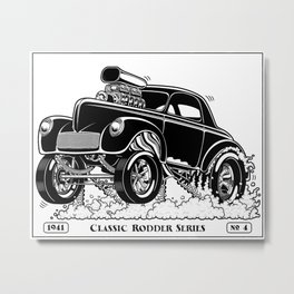 1941 WILLYS Classic Rodder - Black Metal Print