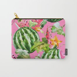 Watermelon Pattern with Pink Background Carry-All Pouch