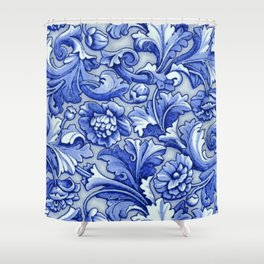 Blue and White Porcelain Shower Curtain