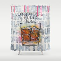 whisky Shower Curtains featuring Whisky on the rock by MiartDesignCreation