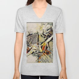 4406s-JG Sensual Nude in Chair By Window Erotic Kandinsky Style Art Unisex V-Neck