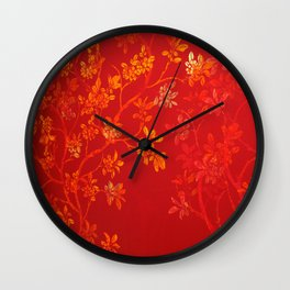 Gold Cherry Blossoms Wall Clock