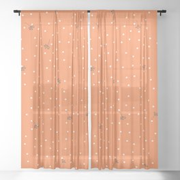 flying dandelion seeds simple Christmas seamless pattern and White Confetti on Orange Background Sheer Curtain