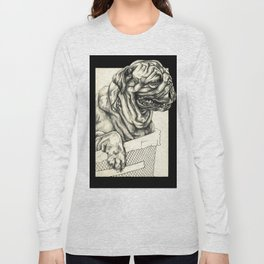 Geometric Black and White Animal portrait Pug Long Sleeve T-shirt