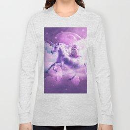 Kitty Cat Riding On Flying Space Galaxy Unicorn Long Sleeve T-shirt