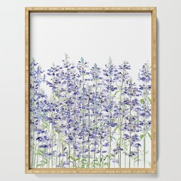 purple blue mealycup sage flowers watercolor   Serving Tray