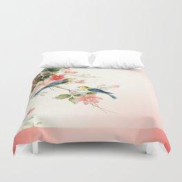 VINTAGE LOVE BIRDS | blush pink white Duvet Cover