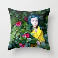 coraline Throw Pillows featuring Coraline by Malice of Alice