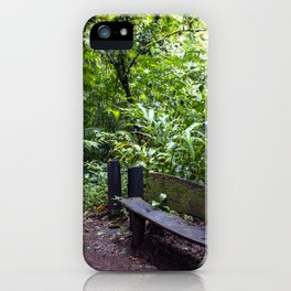 Wood Bench in the Middle of the Rainforest on the Mombacho Volcano in Nicaragua iPhone Case