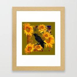 CROW & SUNFLOWERS KHAKI ART Framed Art Print