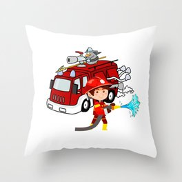 Firefighter Birthday 6 year old Throw Pillow