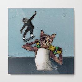Stingray & Sneakers, Skate Cats Metal Print