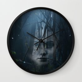 Portrait in the forest Wall Clock