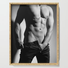 Photograph of a sexy man in Jeans Serving Tray