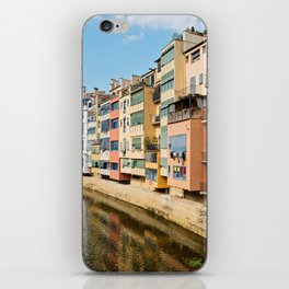 Colorful houses and reflected in water in Girona iPhone Skin