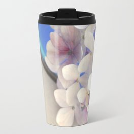 Pale pink Hydrangea flowers in blue bowl. Travel Mug