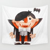 dracula Wall Tapestries featuring Dracula kid by Lime