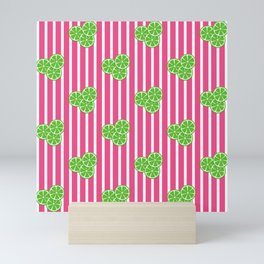 Lime Slices on Hot Pink and White Stripes Mini Art Print